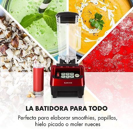 Klarstein Herakles-5G - Batidora de vaso, Batidora americana, Smoothie Maker, 1500 W, Libre de BPA, 40.000 Revoluviones por minuto, 2 Litros de capacidad, Función Pulso, Rojo: Amazon.es: Hogar