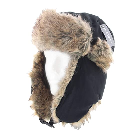 Milani Solid Color Trapper Style Hunting Aviator Winter Hat with Faux Fur  and Chin Strap ( e6b84ff8f0c