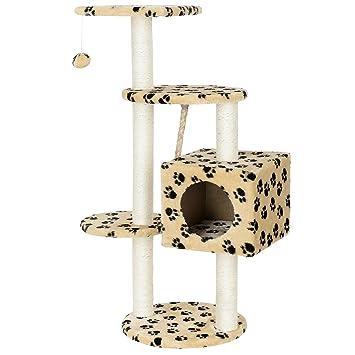 [en.casa] Rascador para gatos (40 x 40 x 113 cm aprox)(crema con huellas) varios niveles - sisal - con juegos y sitio para acurrucarse: Amazon.es: Hogar