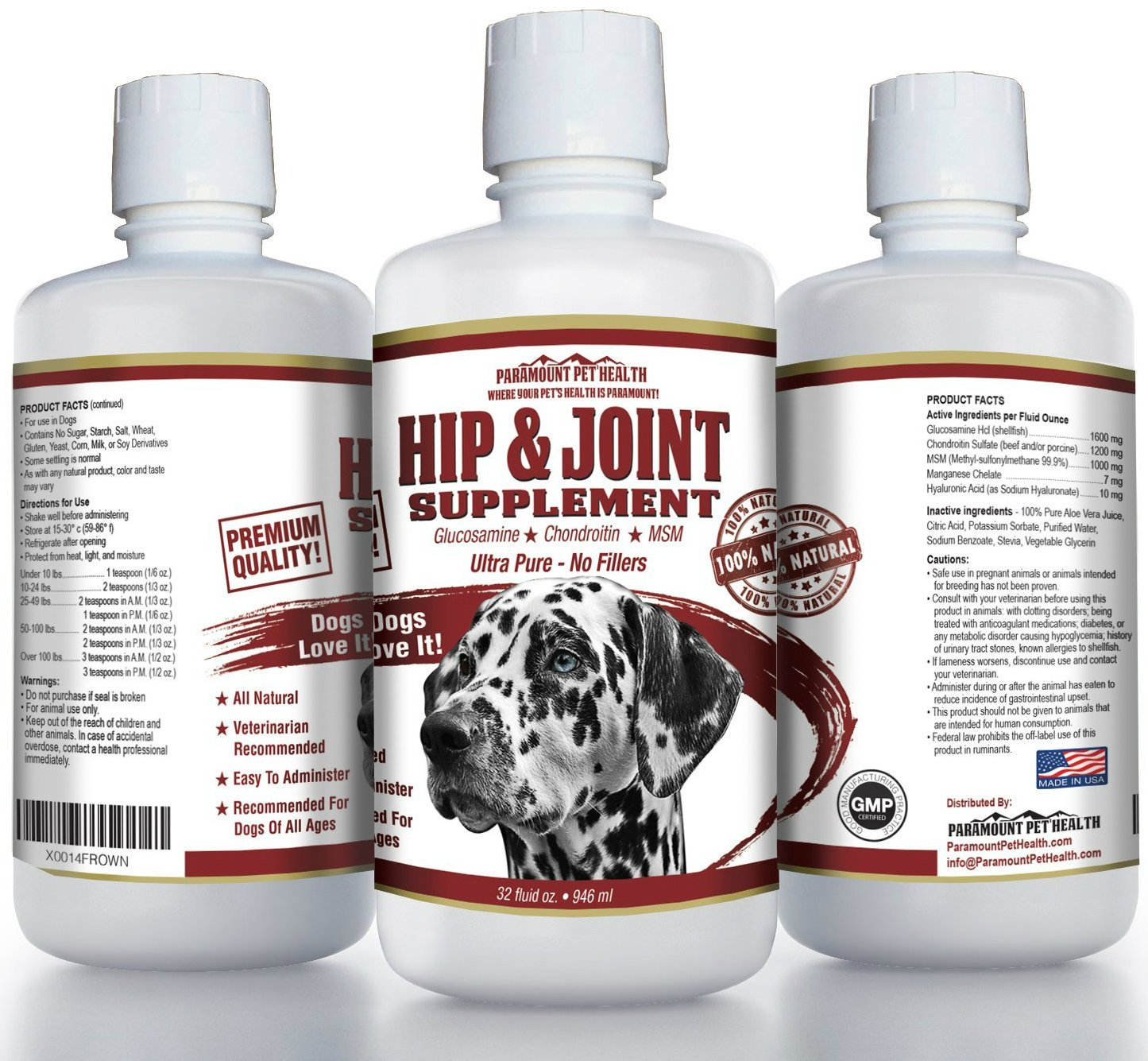 All Natural Liquid Glucosamine For Dogs | 62% More Glucosamine And 50% More Chondroitin Than Other Brands | PREMIUM Hip and Joint Supplement For Dogs Chondroitin MSM and Hyaluronic Acid 32 oz