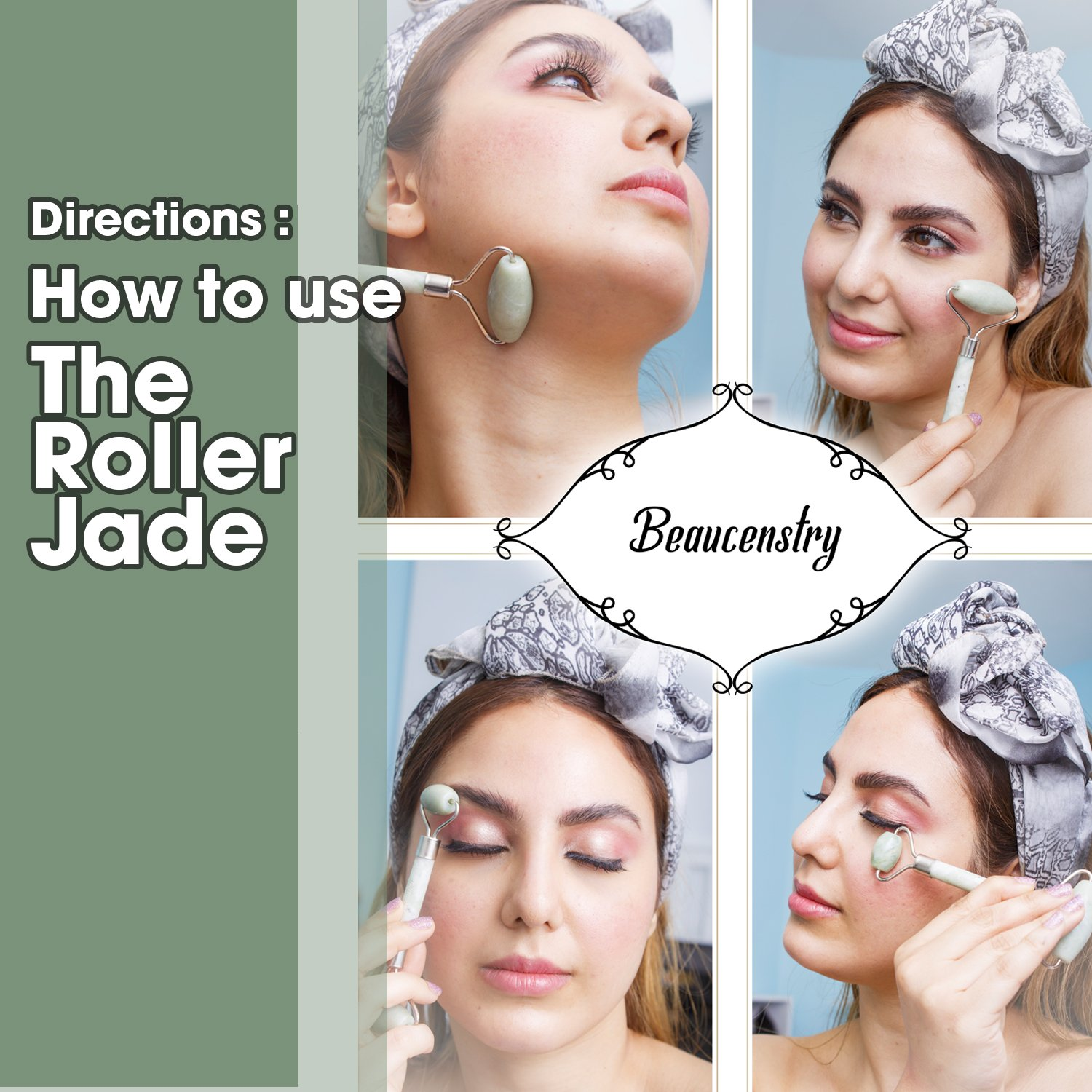 Jade Roller Face Massager Anti Aging Facial Therapy 100% Natural Jade Roller For Face Gua Sha Stone Double Neck Slimming Massager Rejuvenating Gift Boxed + Extra Gift Included by Beaucenstry (Image #5)
