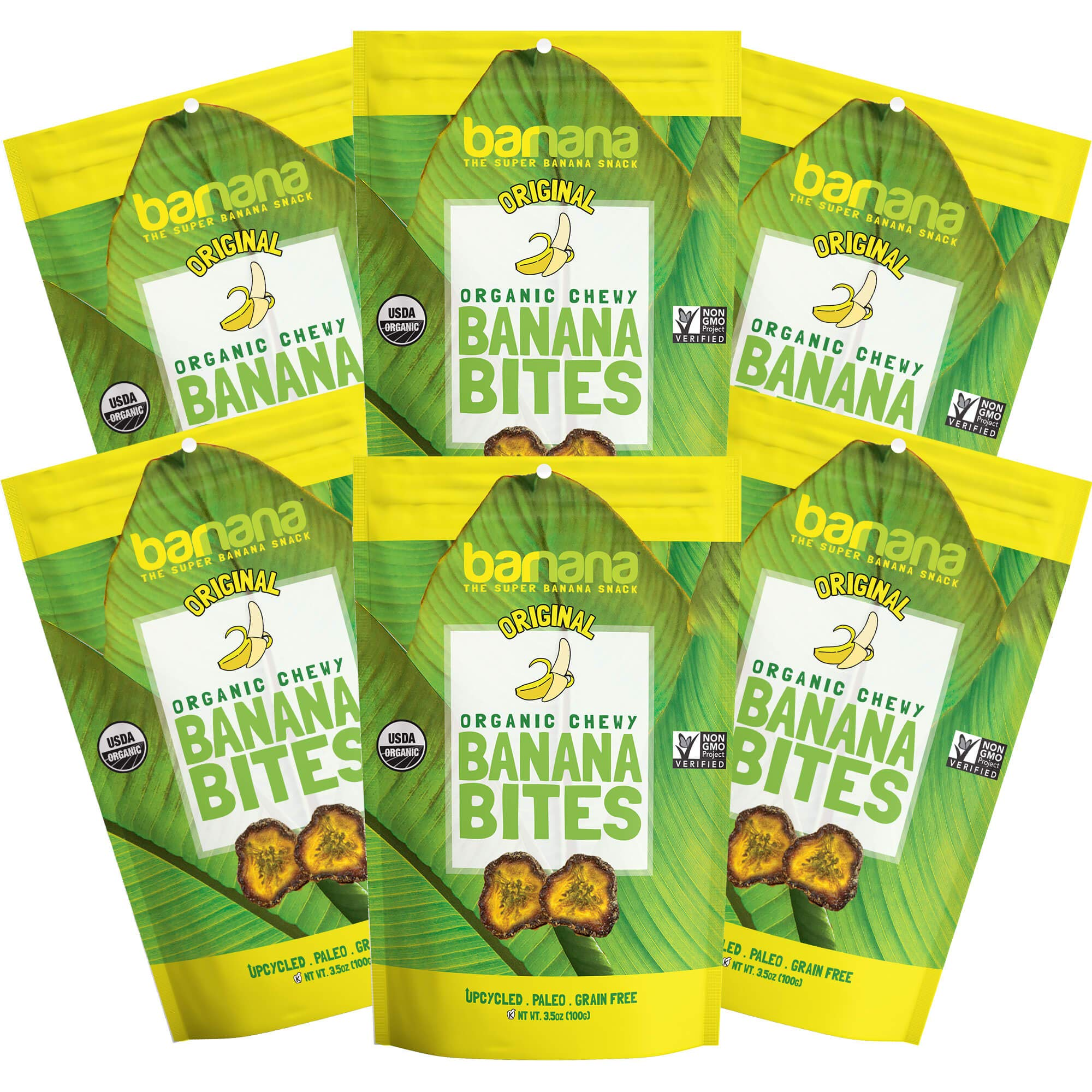 Organic Original Chewy Banana Bites, Delicious Barnana Coated Potassium Rich Banana Snacks, Whole 30, Paleo, Vegetarian, 3.5 Oz, Pack Of 6 by Barnana