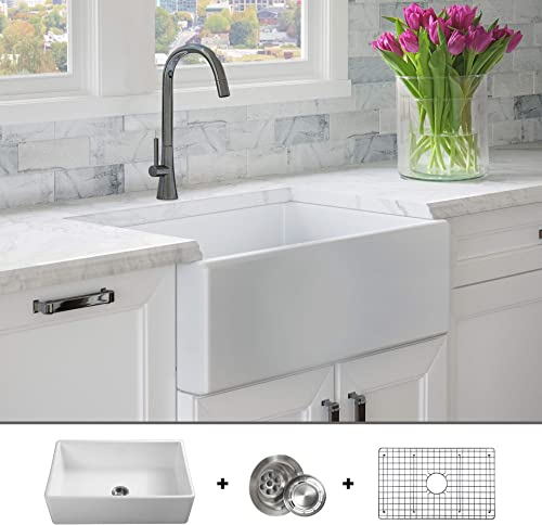 LUXURY 30 inch Modern Farmhouse Ultra-Fine Fireclay Kitchen Sink in White, Single Bowl, Flat Front, includes Grid and Drain, FSW1001 by Fossil Blu