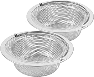 ONEEKK Kitchen Sink Drain Strainer, 2 Pack Stainless Steel Large Basket Food Catcher with Handle, Mesh Stopper Strainer Prevent Clogging (4.5 Inches in Diameter)