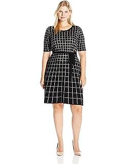 de8b3d0eaa8 Gabby Skye Women s Plus Size 3 4 Sleeve Fit and Flare Sweater Dress ...