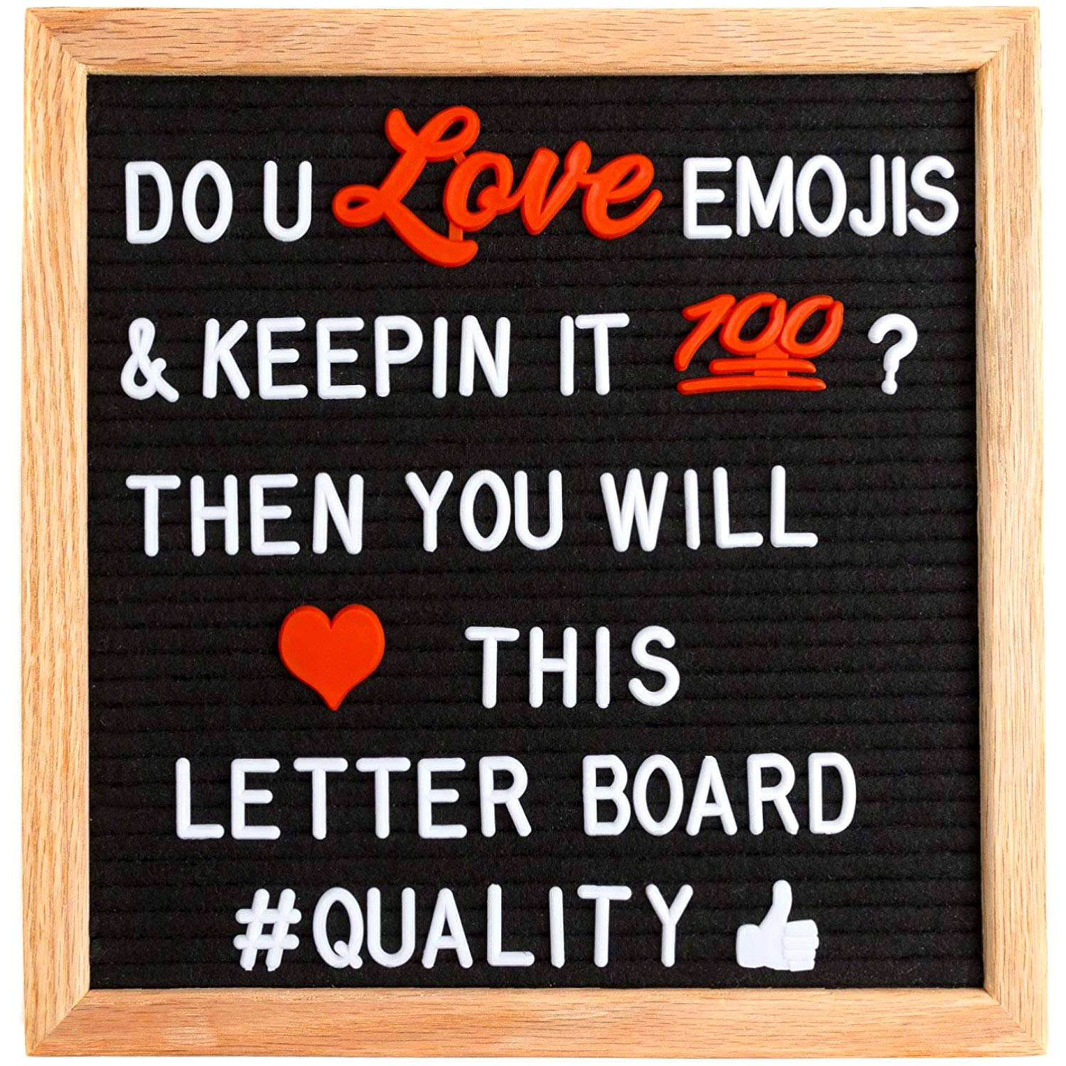 Changeable Felt Letter Board Black Message Board on Rustic Oak Frame w//White Alphabet /& Number Sets on Small Framed Customizable Letterboard Sign by Wordplay Creations 10x10 inch w//Emoji Stickers