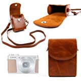 DURAGADGET Ultra-Portable, Retro-Inspired Compact Camera Case in 'Vintage' Brown for the Canon Powershot G5X, EOS M10, Powershot Ixus, Powershot N2 / S100 - with Adjustable Carry Strap & Belt Loop