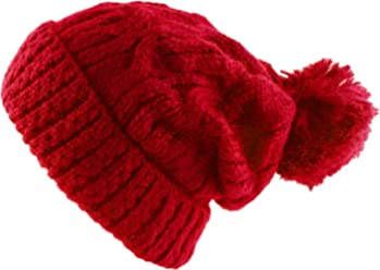 Morehats Thick Crochet Knit Pom Pom Beanie Winter Ski Hat 56346abc71e0