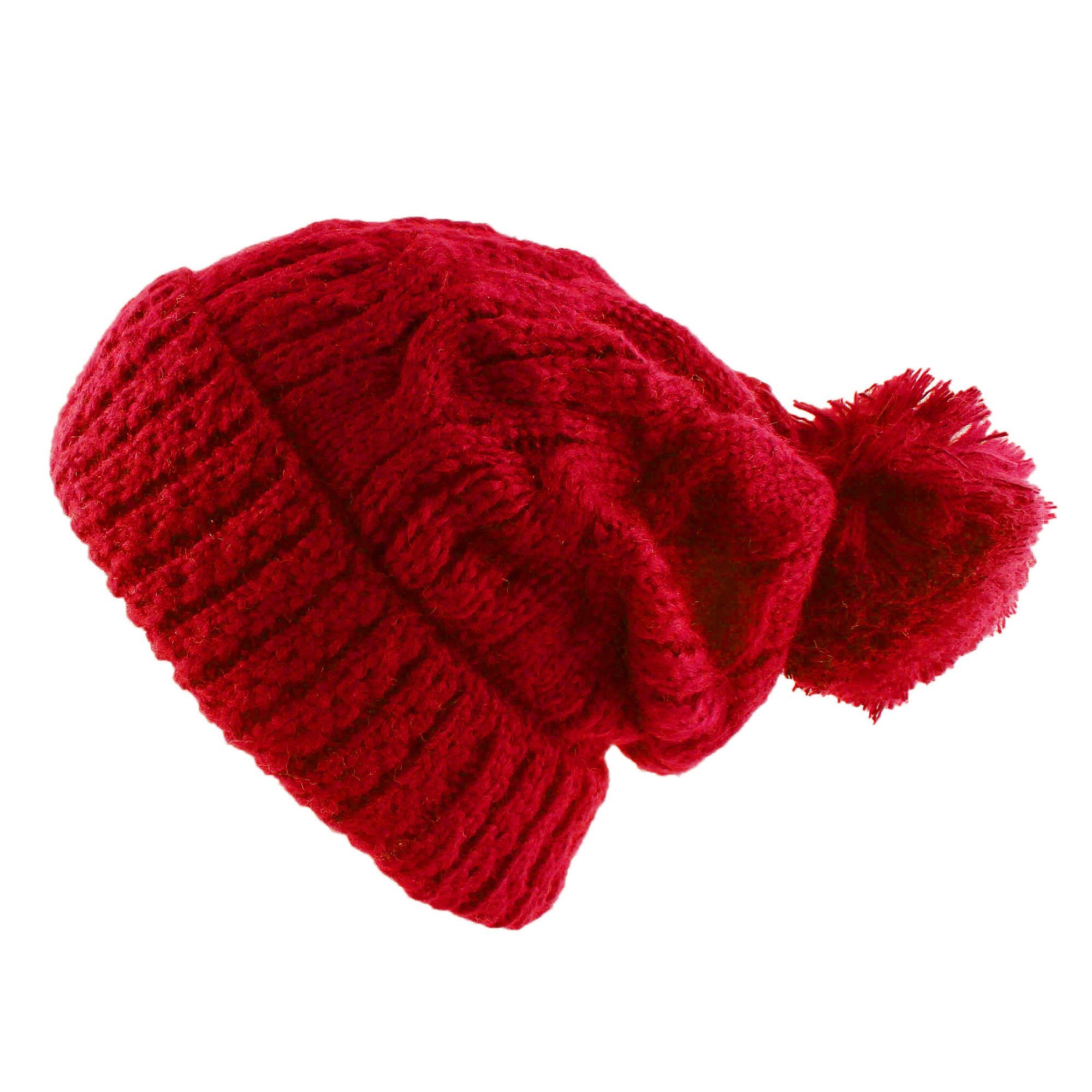Morehats Large Pom Pom Soft Crochet Thick Knit Slouchy Beanie Winter Ski Hat - Red