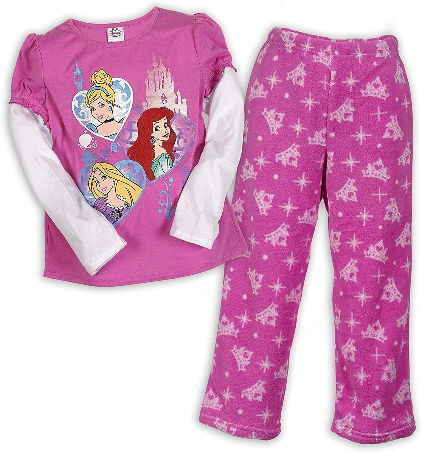 Disney Princesses Hearts Cozy Pajama Set Sizes 2T-8