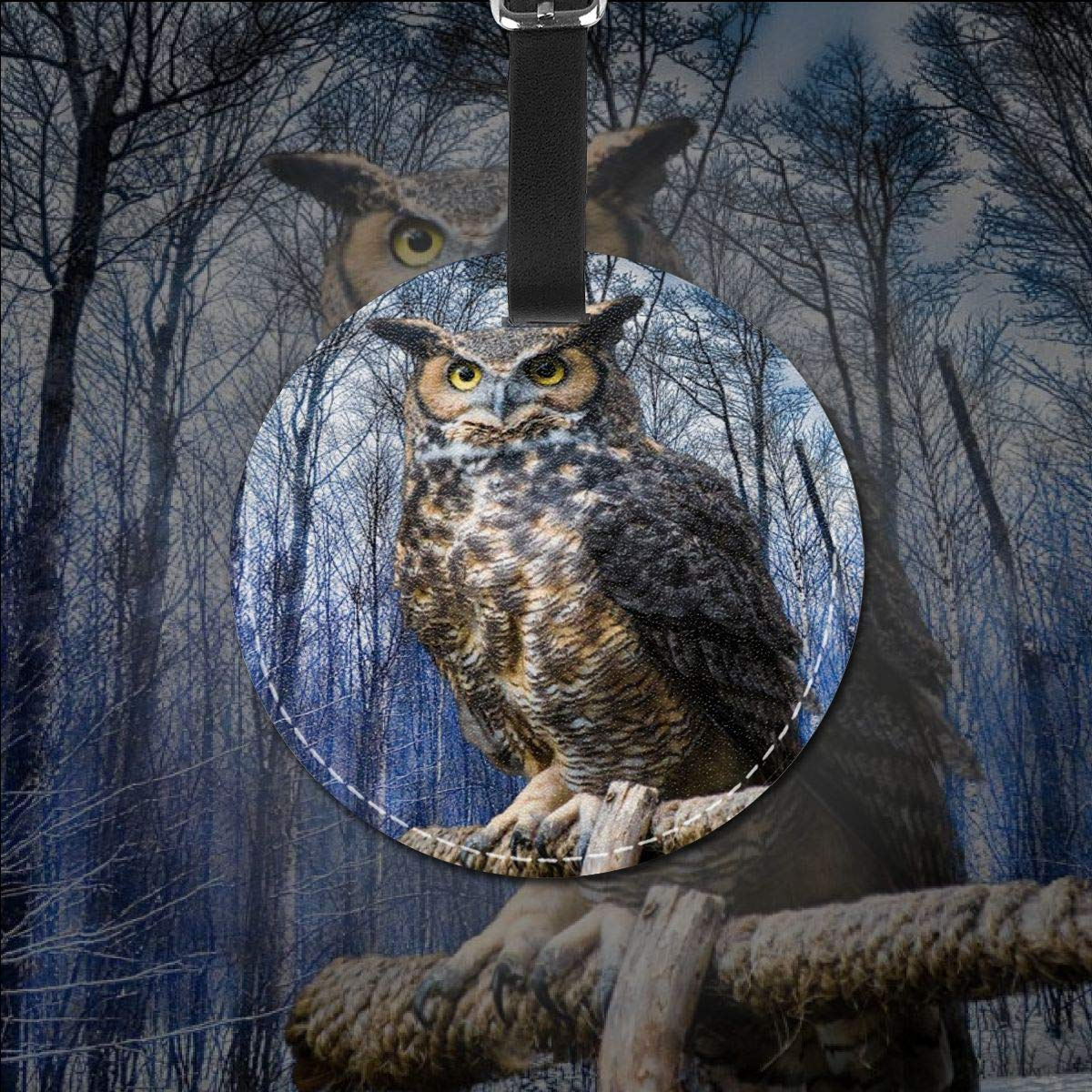 Free-2 Owl General Luggage Tag 3D Print Leather Travel Bag ID Card