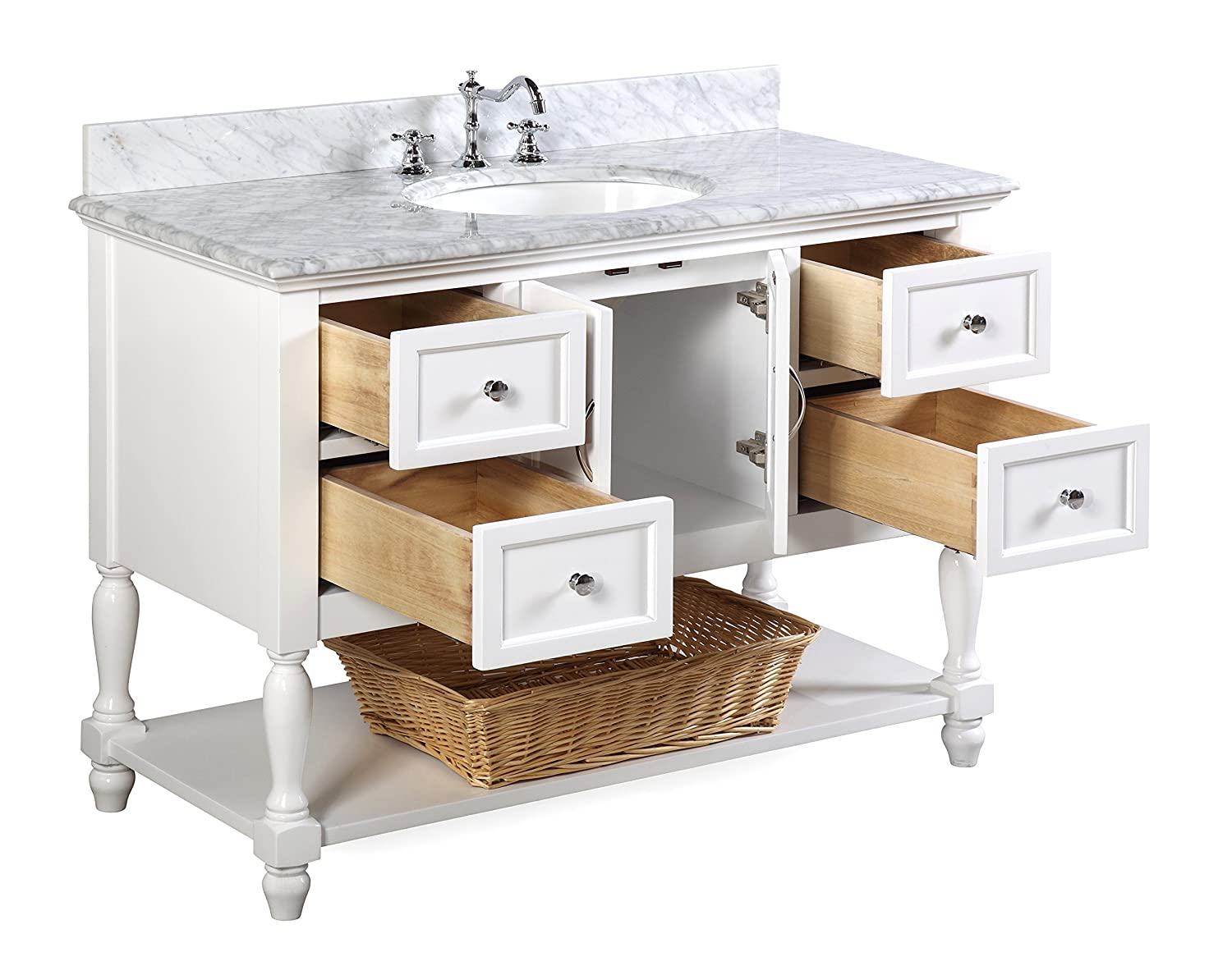 6985fba0d30 and White Ceramic Sink Kitchen Bath Collection KBC17WTCARR-N   Includes  Authentic Italian Carrara Marble Countertop Carrara White Beverly 48-inch  ...