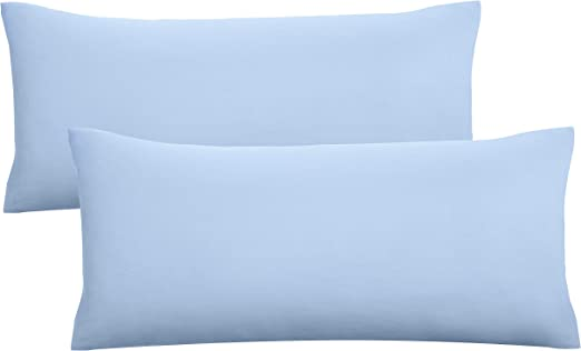Biberna 0077144 Jersey de Fundas de Almohada de algodón 100% con Cremallera, 2 Unidades, 40 x 80 cm, Color Azul Hielo 27 x 18 x 3 cm: Amazon.es: Hogar