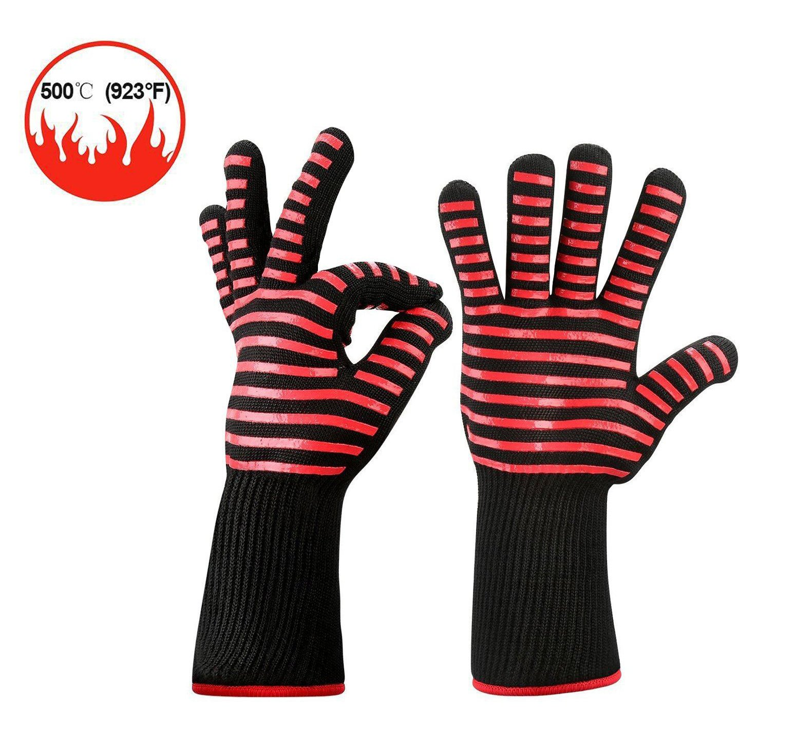 BBQ Gloves Grill Gloves Kitchen Oven Mitts 932°F Extreme Heat Resistant Gloves 14'' Long Cut Resistant and Forearm Protection baking & Grilling Gloves (1 Pair)
