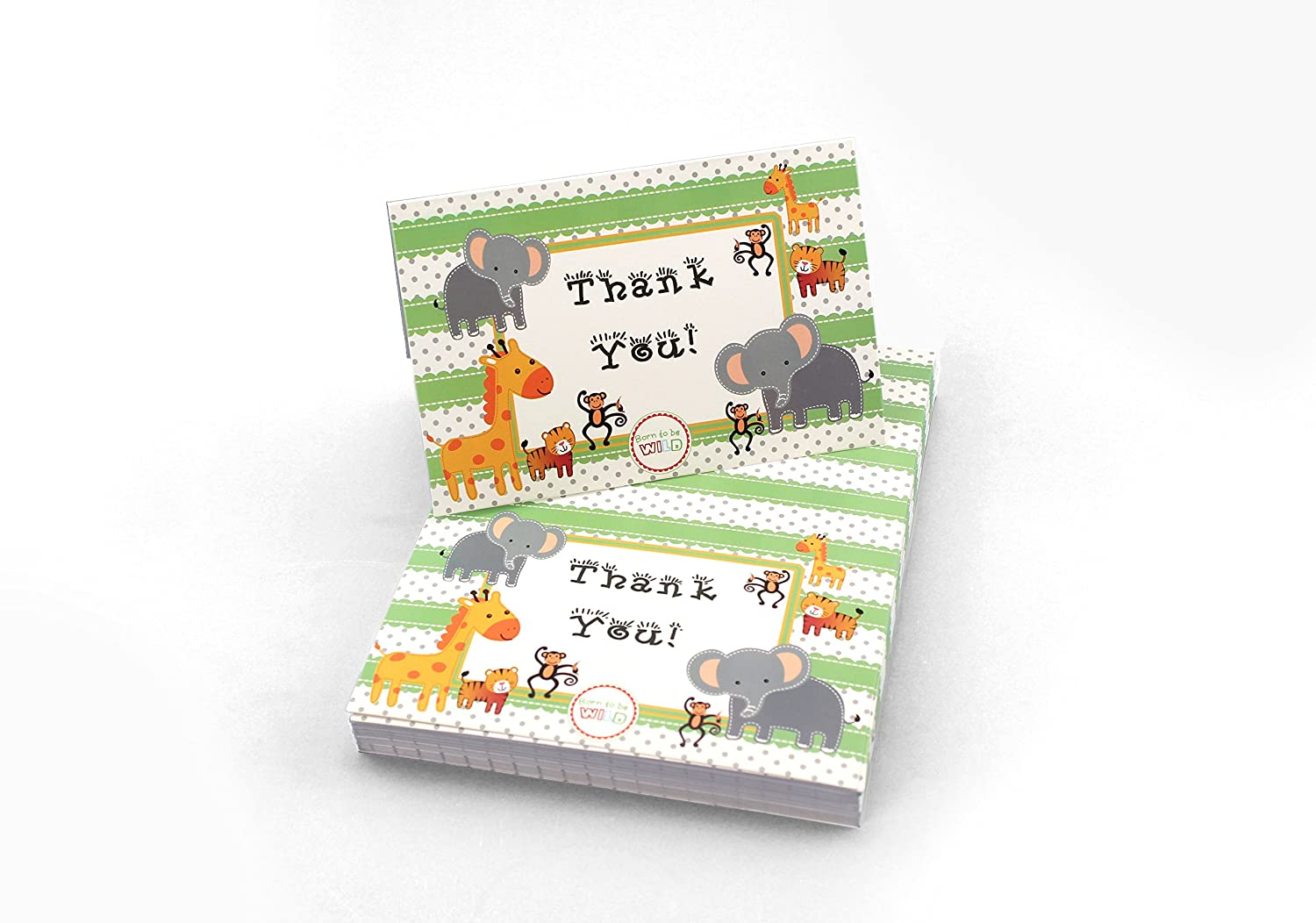 Tytroy (48 Pack) Baby Shower Thank You Jungle Zoo SafariBorn to be Wild Boy or Girl Cards