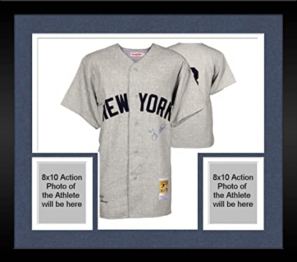 d8e6d5639 Image Unavailable. Image not available for. Color  Framed Yogi Berra New  York Yankees Autographed Gray 1951 Mitchell   Ness Jersey ...