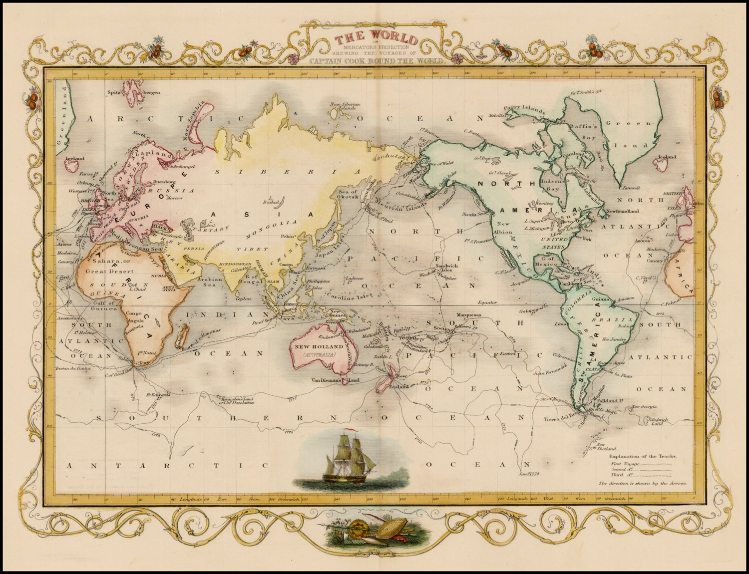 Amazon.com: Home Comforts Peel-n-Stick Poster of Map of Captain Cook Round The World Poster 24X16 Adhesive Sticker Poster Print: Home & Kitchen