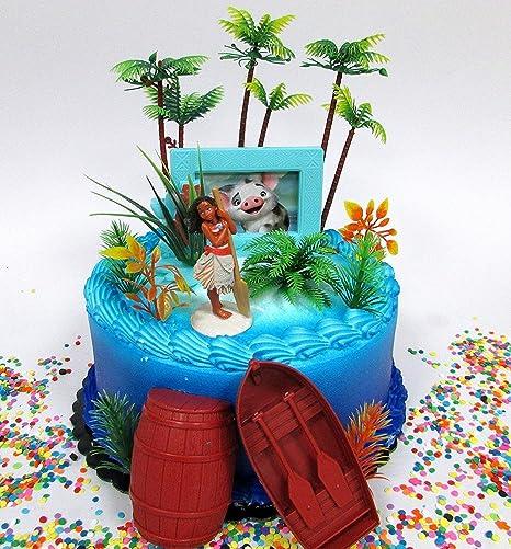 Super Amazon Com Cake Toppers Moana Tropical Themed Moana Birthday Set Funny Birthday Cards Online Hetedamsfinfo