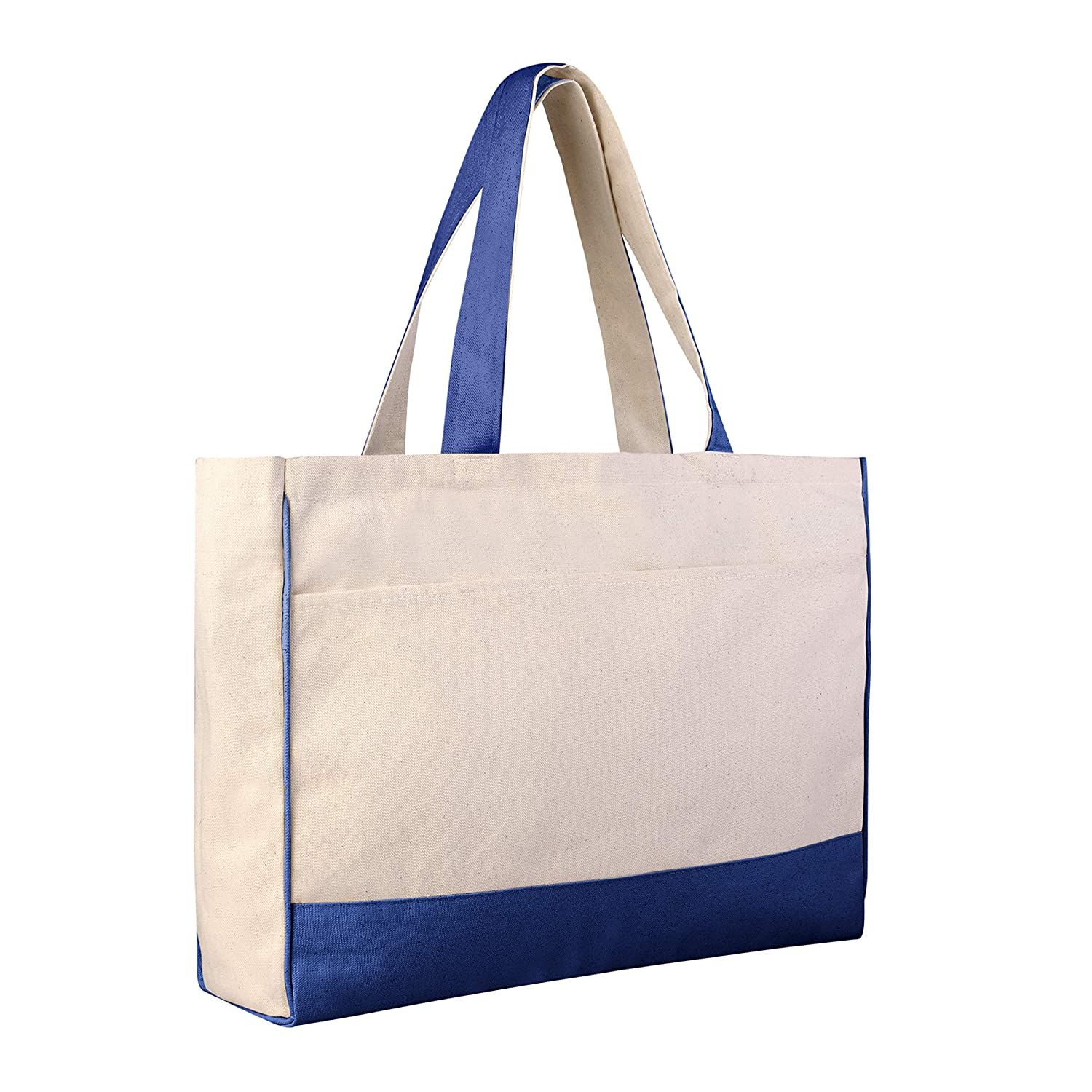 1199289e56 Amazon.com   Pack of 2 Heavy Canvas Blank Tote Bags with Large Front Pocket  and Inside Zippered Pocket- 17