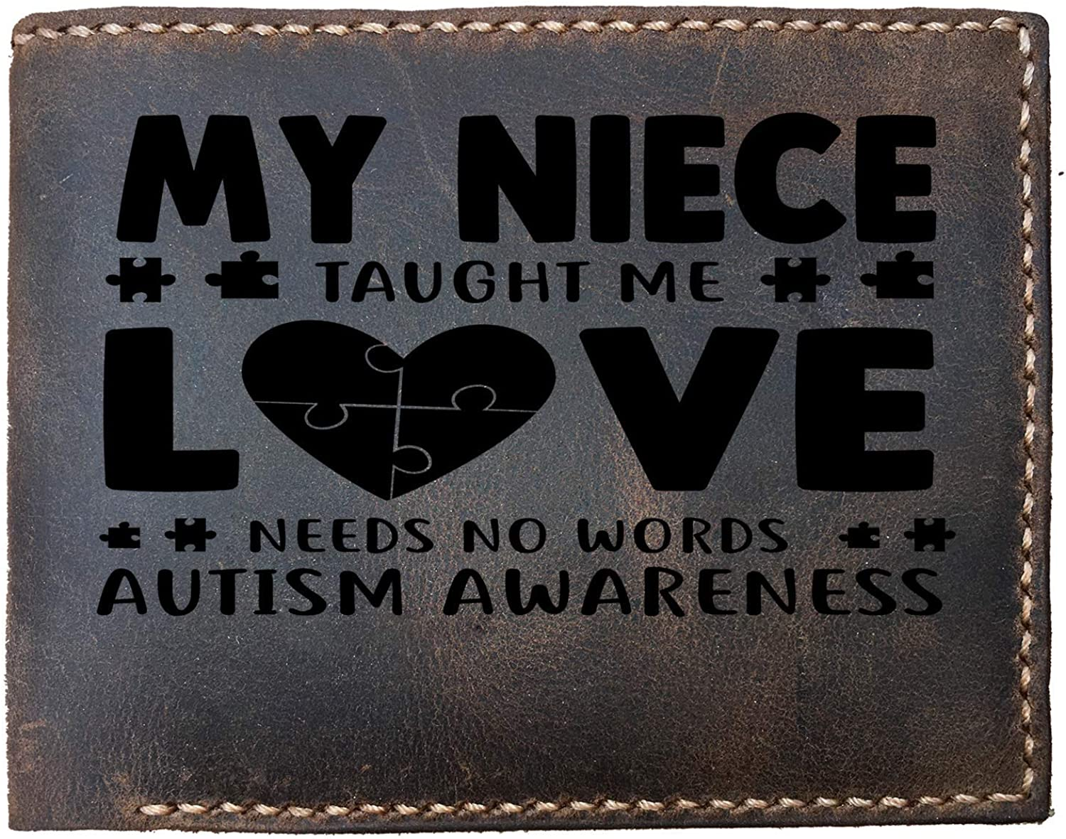 Lobsteray My Autistic Niece Autism Quotes Custom Laser Engraved Leather Bifold Wallet for Men for Aunt Uncle