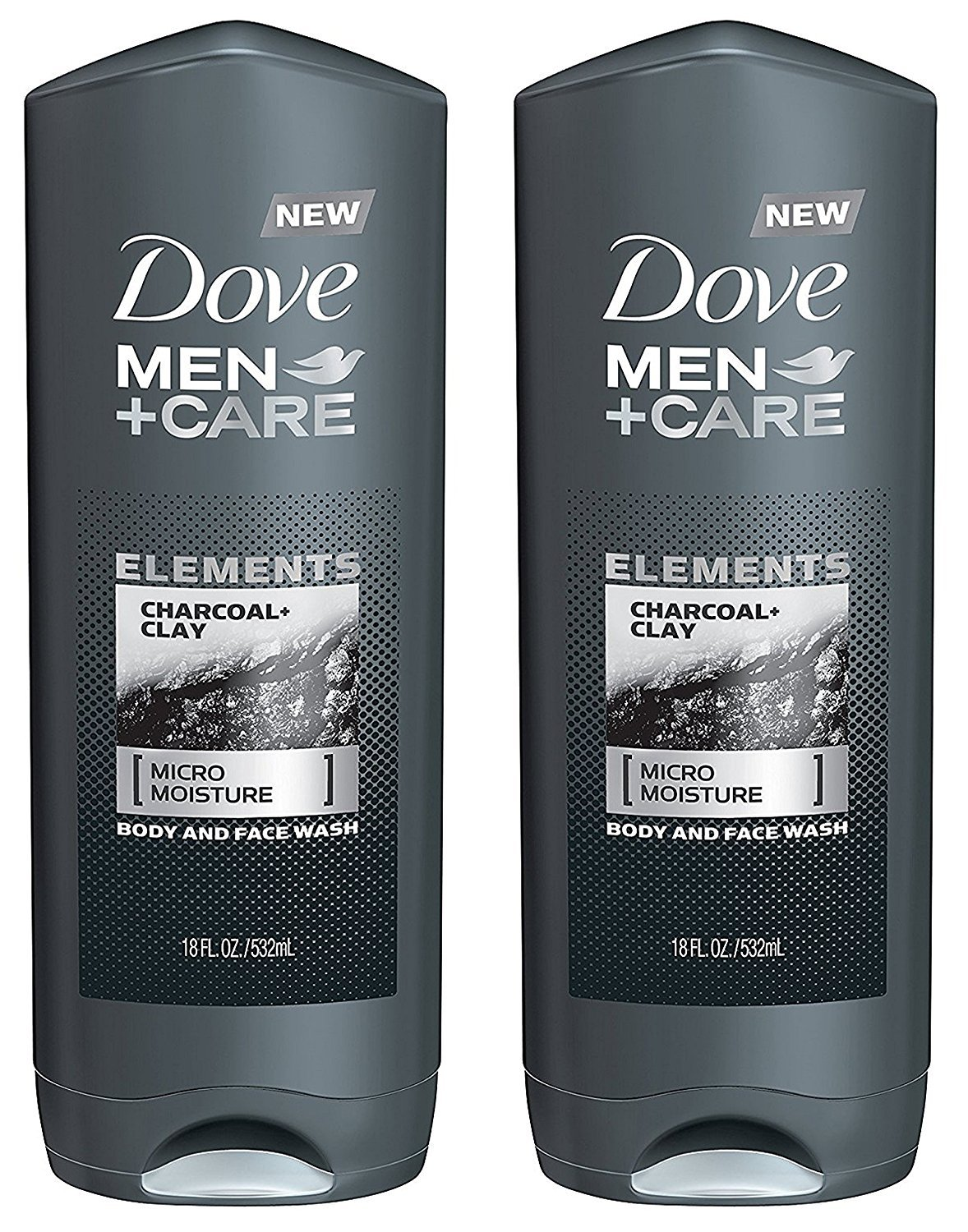 Amazon Com Dove Men Care Body And Face Wash Elements Charcoal Clay Net Wt 18 Fl Oz 532 Ml Per Bottle Pack Of 2 Bottles Beauty