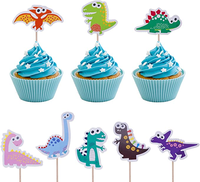 FIREFLY Dinosaur Cupcake Toppers Baby Shower Decorations Party Cake Decorating Supplies First Birthday Decorations Kids Children Baking Supplies Dino 24
