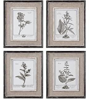 antique style botanical wall art prints grey flowers burlap framed