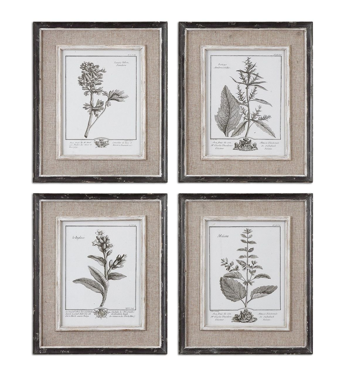 Antique Style Botanical Wall Art Prints | Grey Flowers Burlap Framed by Uttermost