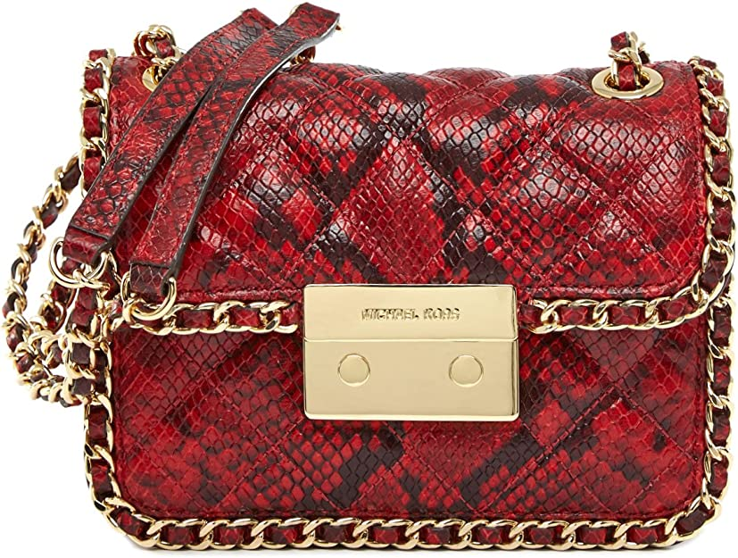 MICHAEL Michael Kors Womens Carine Medium Shoulder Bag (RedGold)