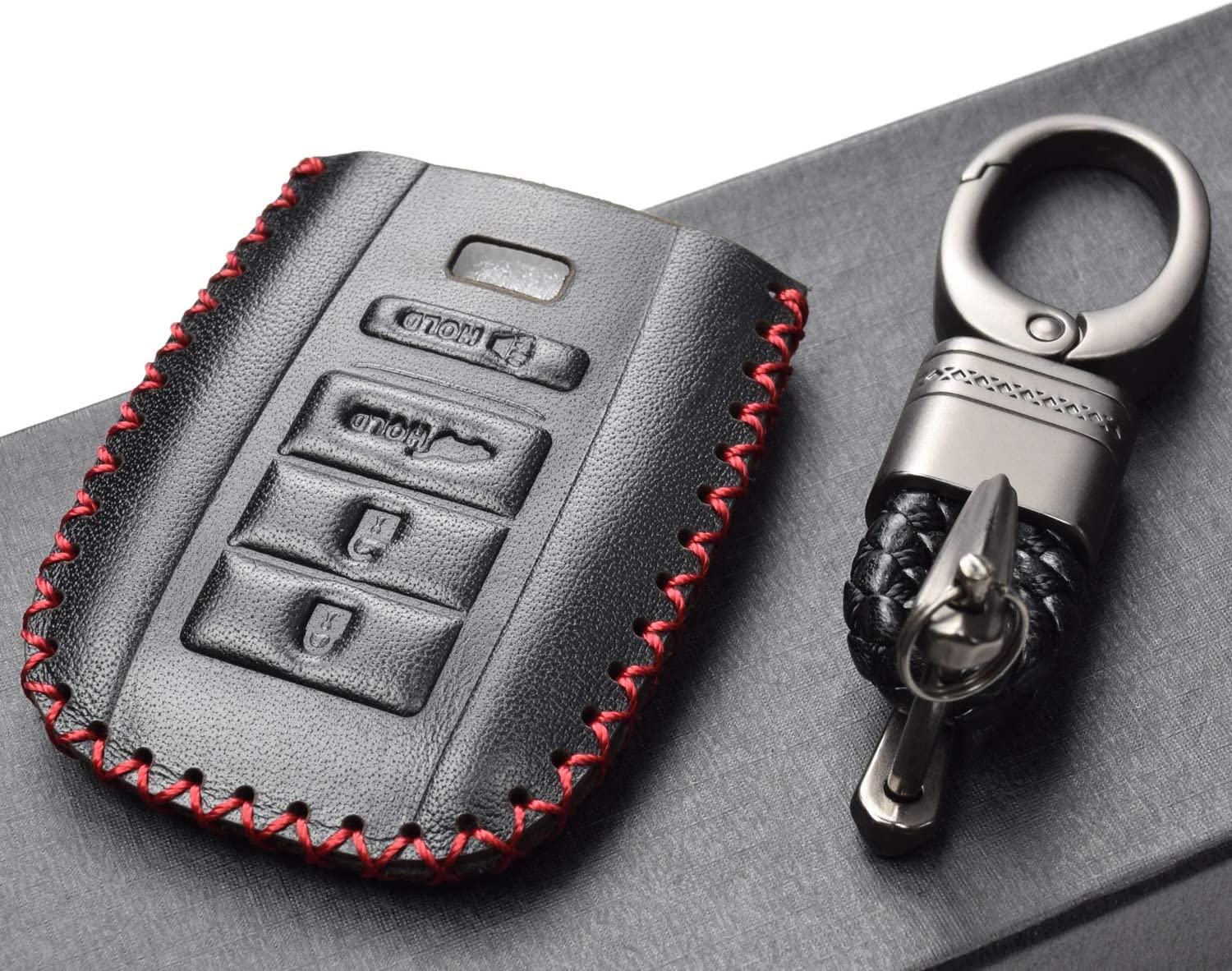 ACURA TLX ACURA ILX Vitodeco Genuine Leather Smart Key Keyless Remote Entry Fob Case Cover with Key Chain for ACURA RLX 4 Buttons, Black