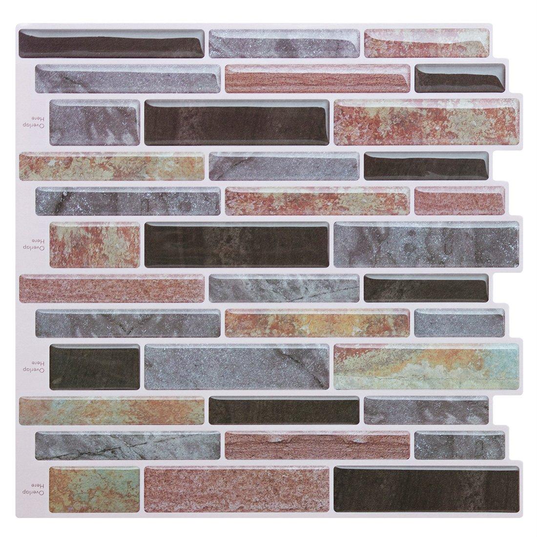 Peel and Stick Tile Backsplash-Mist Purple Backsplash Peel and Stick for Kitchen Bathroom,Stick on Tiles for Backsplash(4 Tiles) by FAM-StickTiles