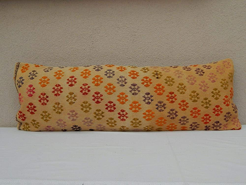Decorative Wool Kilim Pillow Cushion cover made from Vintage Hand Woven Turkish Anatolian Rug D0638 40x40cm 16x16