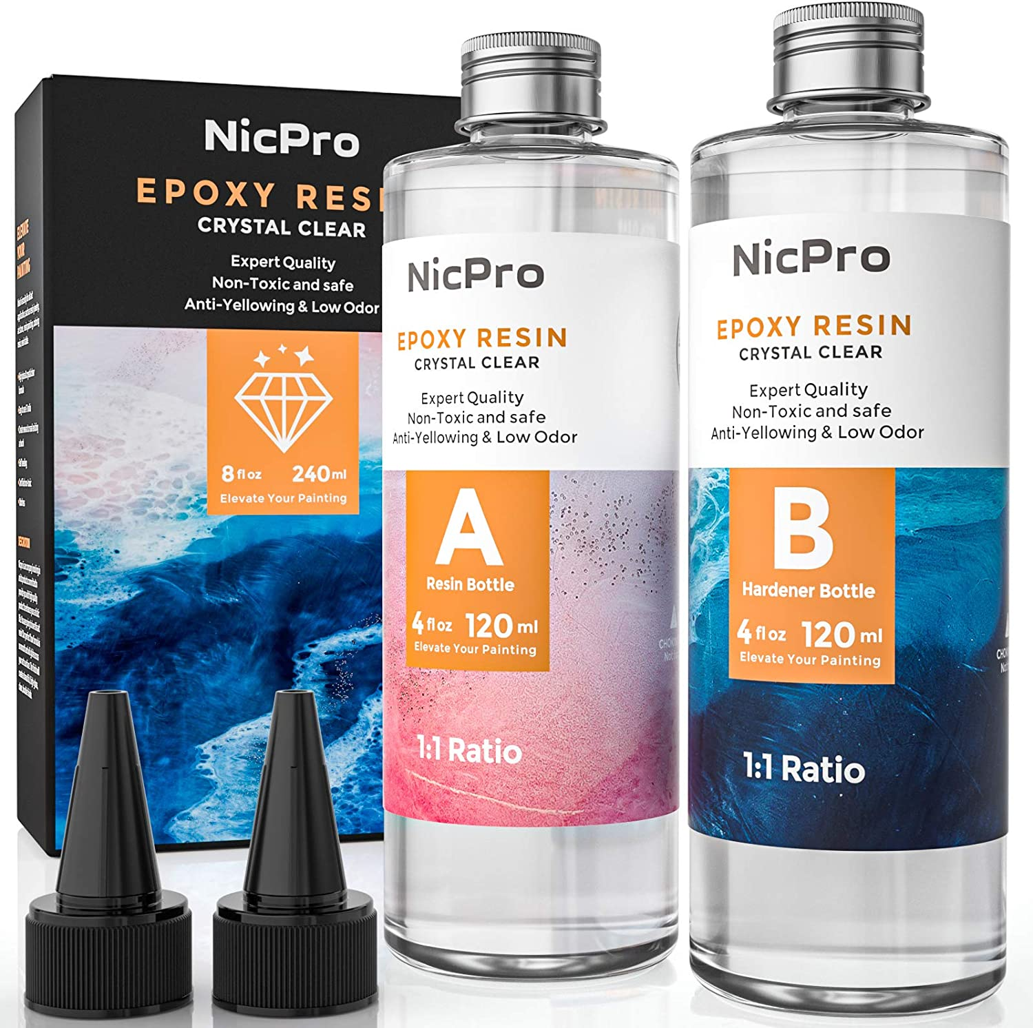 Nicpro 8 Ounce Crystal Clear Epoxy Resin Kit, Food Safe DIY Starter Art Resin for Craft, Canvas Painting, Molds Pigment Jewelry Making, Resin Coating and Casting