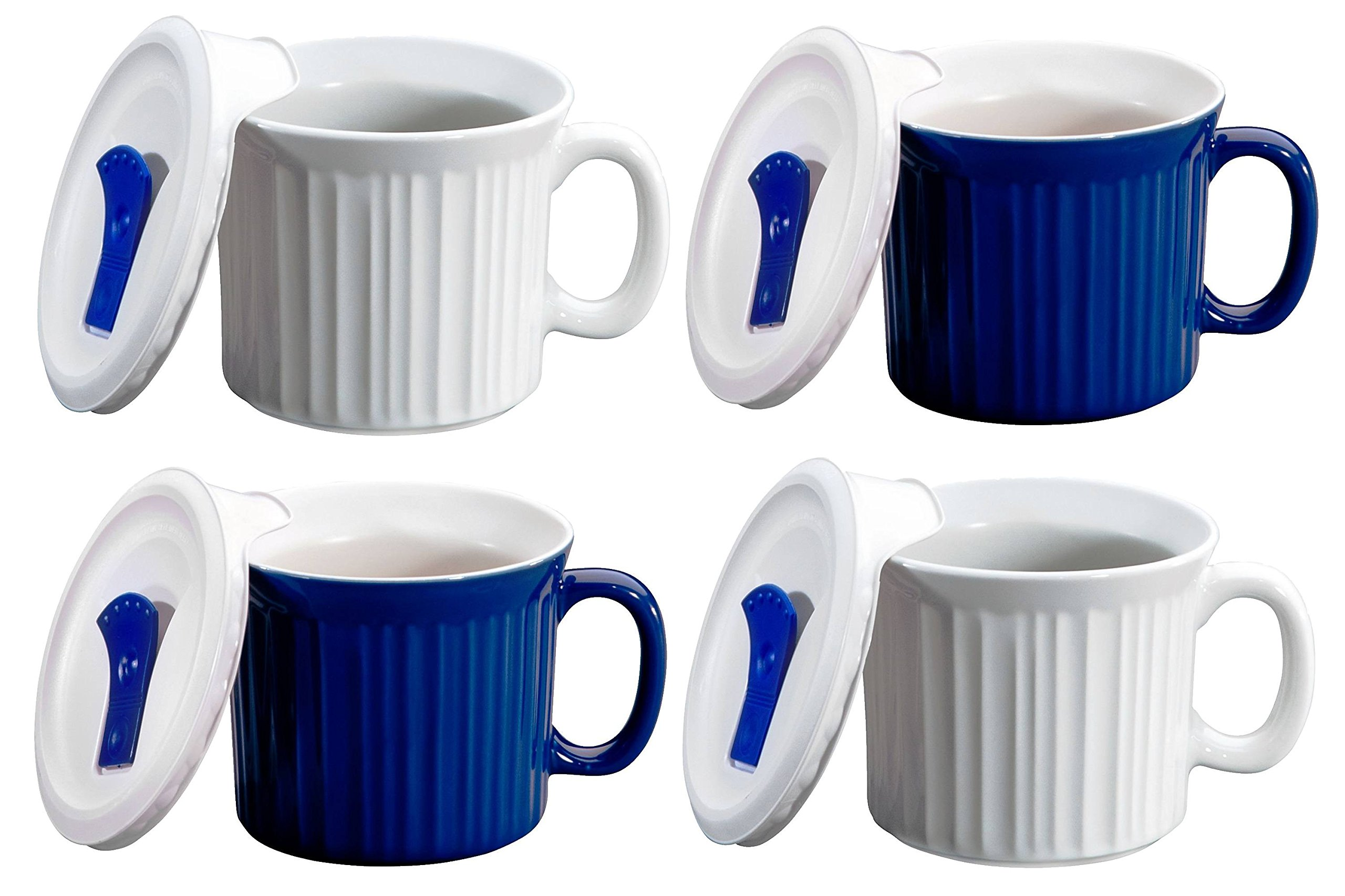 CorningWare Pop in mug, 4 mugs with vented plastic covers (Bake, Microwave) 20 oz/591ml (White/Blue)