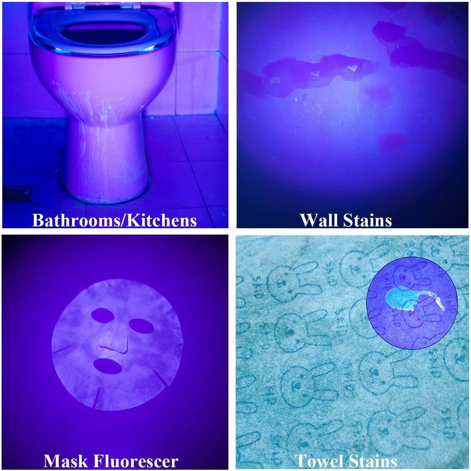 Winkeyes LED UV Flashlight Black Light 100 LED Ultraviolet UV Torch Pet Urine Detector Aluminum Alloy Non-Slip Handle with Lanyard UV Glasses for Catching Scorpion Fluorescence Currency Detection
