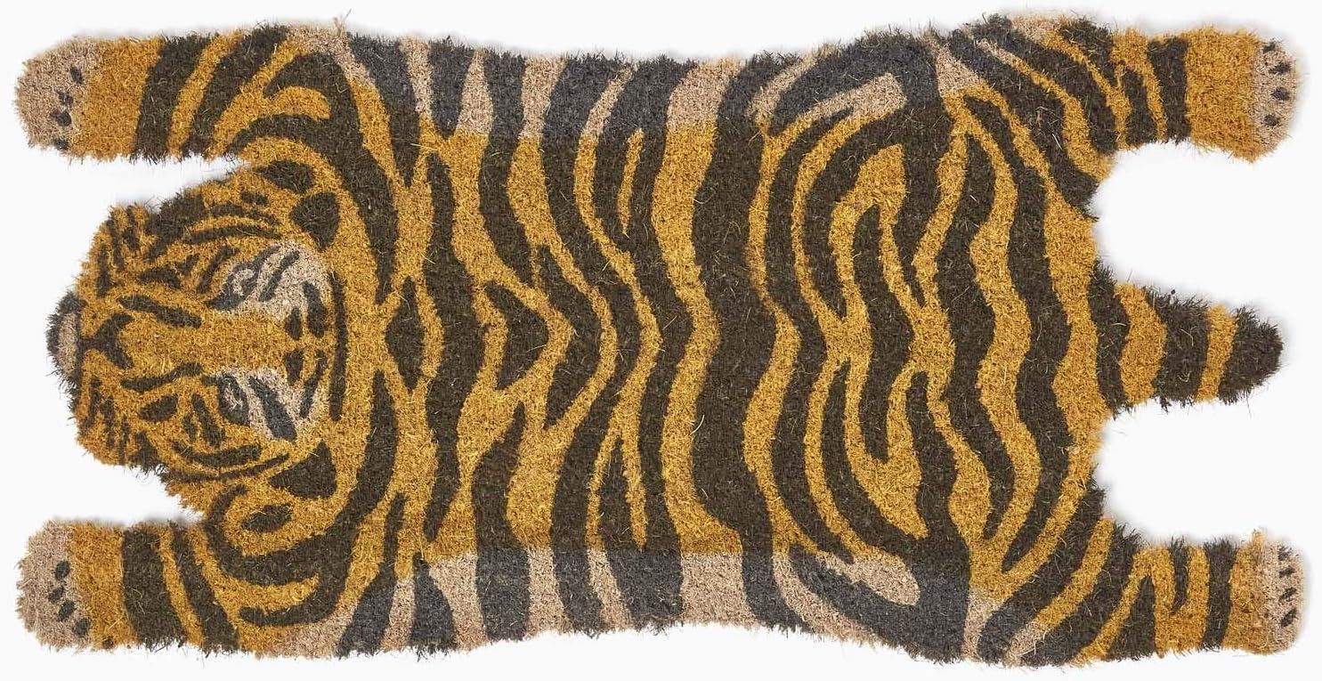 Homescapes Tiger Shape Coir Door Mat 75 X 38 Cm Animal Print With Rubber Non Slip Back Indoor And Outdoor Doormat Amazon Co Uk Kitchen Home