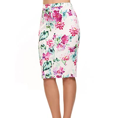 ACEVOG Women's High Waist Floral Print Bodycon Midi Pencil Skirt for Office Work Wear at Amazon Women's Clothing store