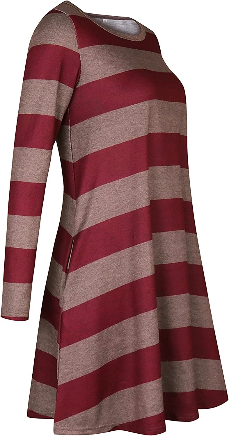 FORWOMEN Women Casual Long Sleeve Dress Mid-Thigh O-Neck Wide Stripes Loose Dresses with Pockets