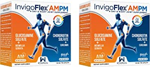 Glucosamine & Chondroitin Sulfate - Turmeric Curcumin - Boswellia Serrata (Non GMO) 24 - Hour Premium Joint Pain Relief Supplement with by InvigoFlex® AMPM - 2 Pack