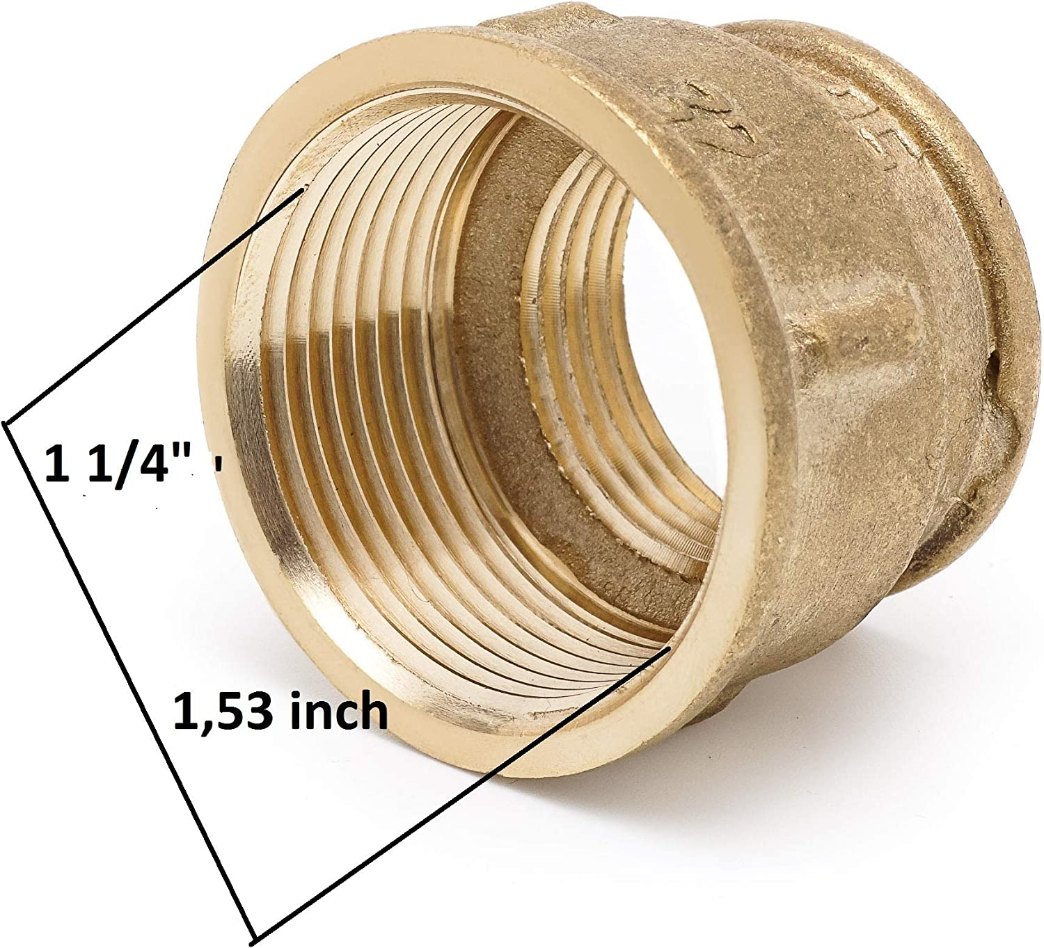 "Reducing Coupling 1 Female x 1 /¼/"" Female Brass Coupling 1 inches x 1/¼ inches Female Lead Free Brass Pipe Fitting"