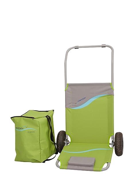 Carrello Sdraio Da Spiaggia.Mare Weh Pieghevole Spiaggia Carrello Con Tasche Verde 118 X 63 X 75 Cm 74029