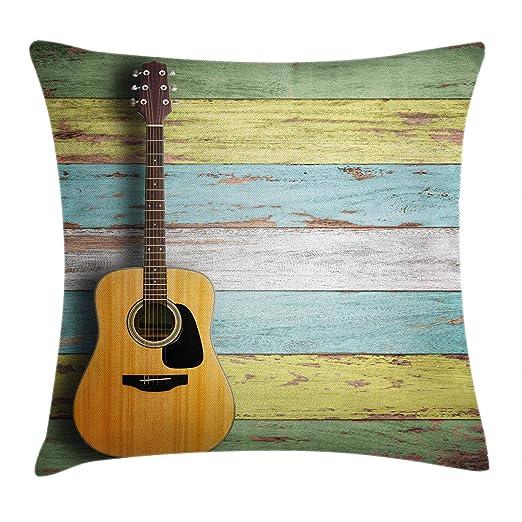 Decoración de música Almohada Funda de cojín Guitarra acústica ON ...