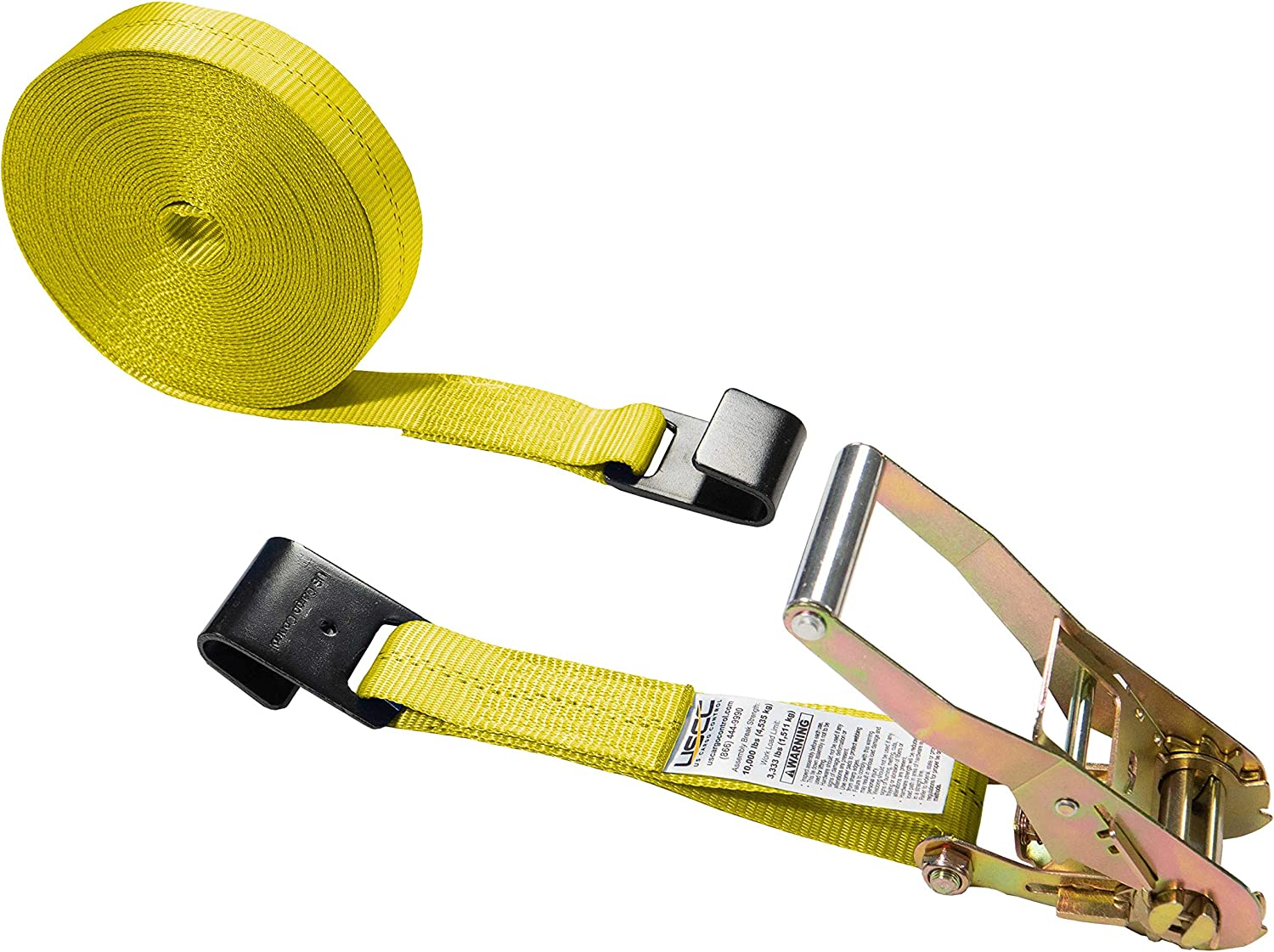 Cargo Equipment Corp.16 Foot X 2 Inch Green Ratchet Strap with Wire Hooks Green