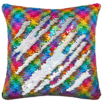Play Tailor Sequin Pillow Case Flip Sequin Pillow Cover Throw Cushion Cover 16x16in, Hologram Silver and Rainbow Diamond
