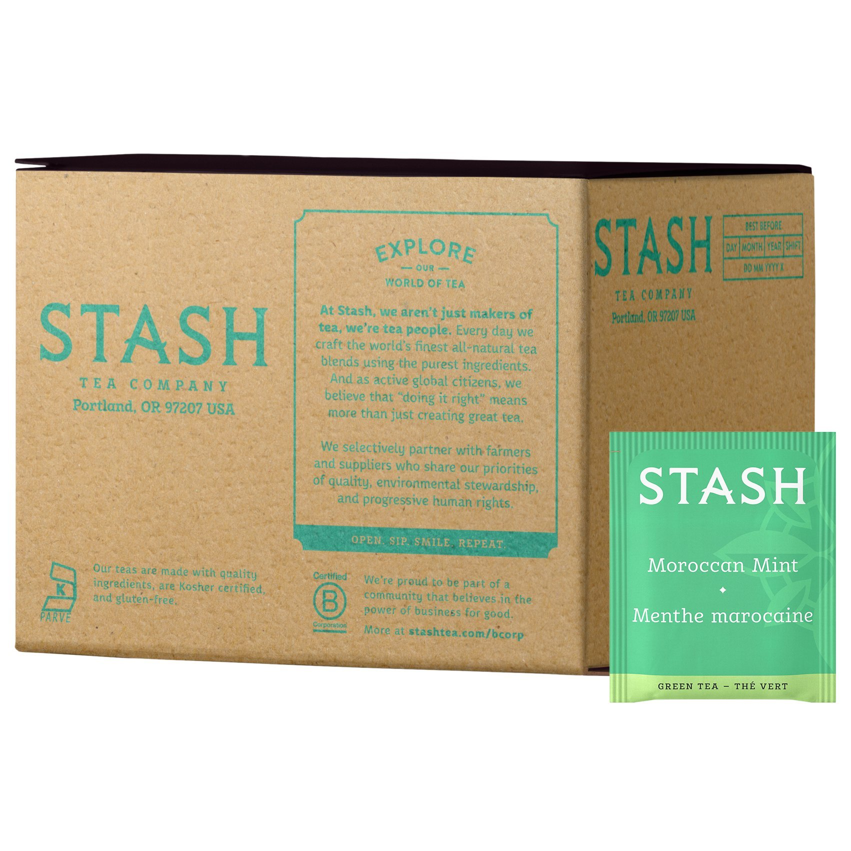 Stash Tea Moroccan Mint Green Tea, 100 Count Box of Tea Bags Individually Wrapped in Foil (packaging may vary), Medium Caffeine Tea, Green Tea Blended with Mint, Drink Hot or Iced by Stash Tea