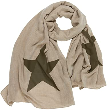CASPAR SC458 Écharpe XL avec imprimé grosse étoile pour femme,  Couleur marron Taille 6437c1d888b