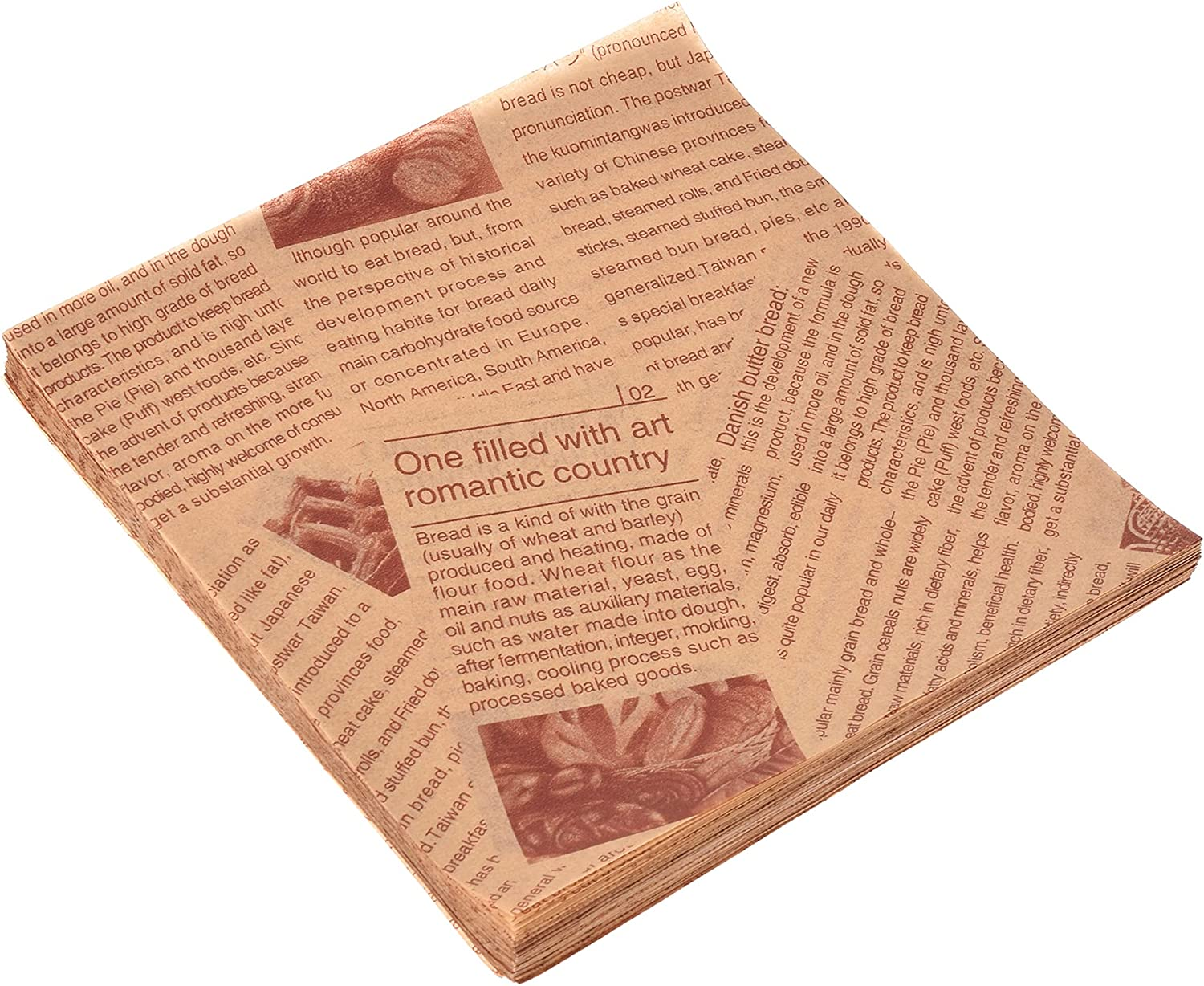 ZIIVARD 200 Sheets Deli Paper Greaseproof Wax Paper Liners Basket -Food Grade Disposable Food Wrapping Taco Sandwich Burger Paper Wrappers Baking Parchment-5.9in,Brown
