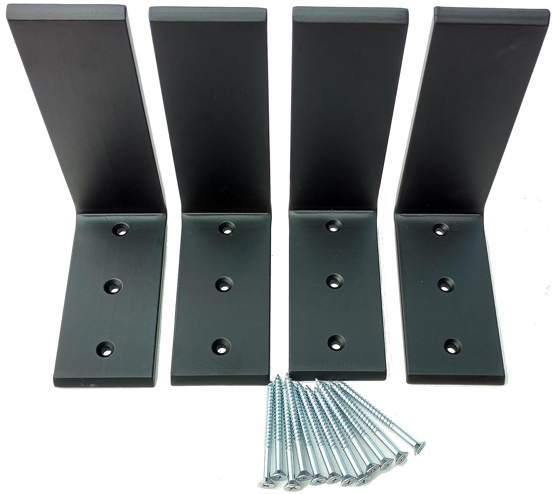"""4 Heavy Duty Black Steel 6"""" x 8"""" Countertop Support Brackets! Corbel L Shelf"""