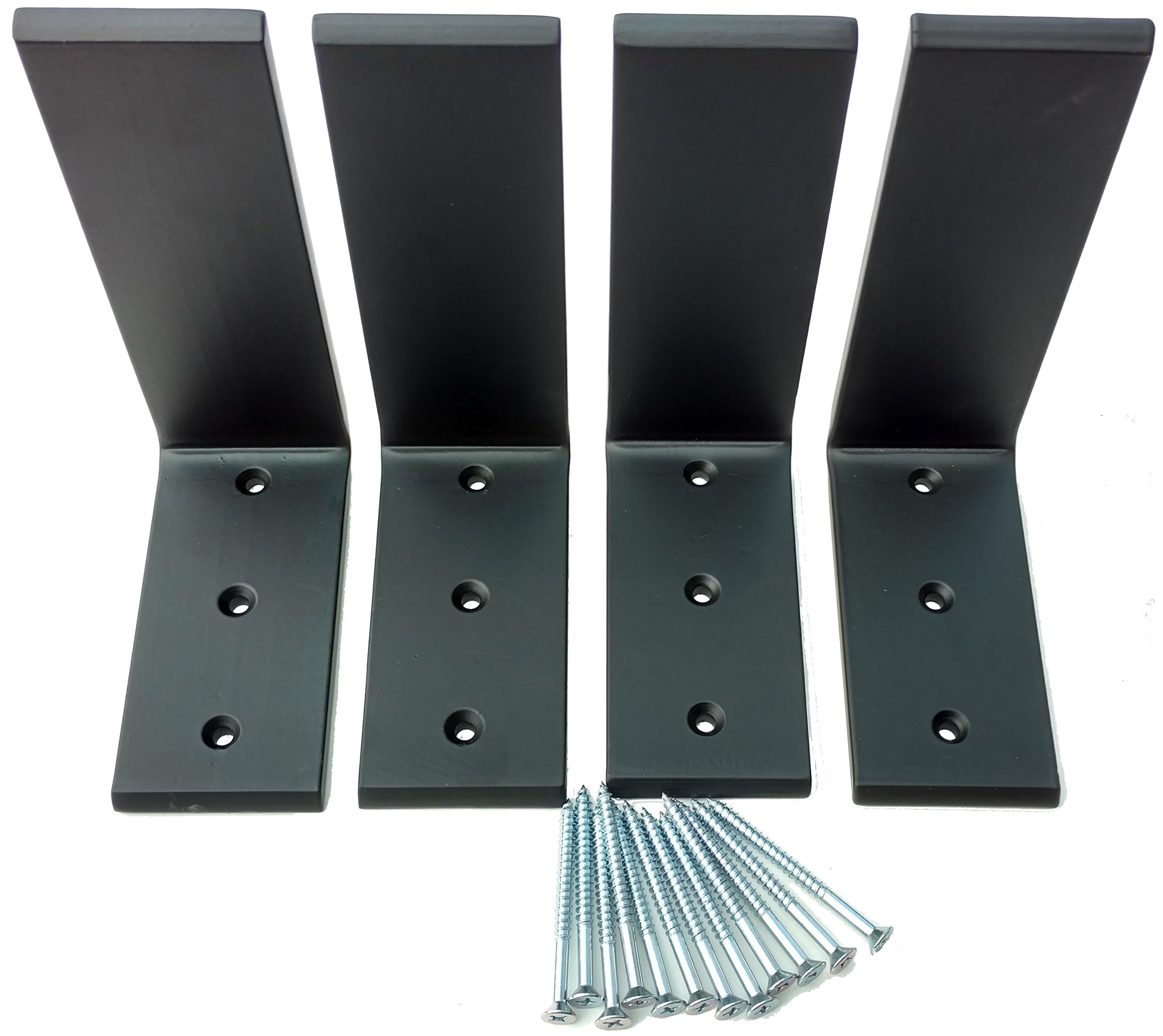 4 Heavy Duty Black Steel 6'' x 8'' Countertop Support Brackets! Corbel L Shelf