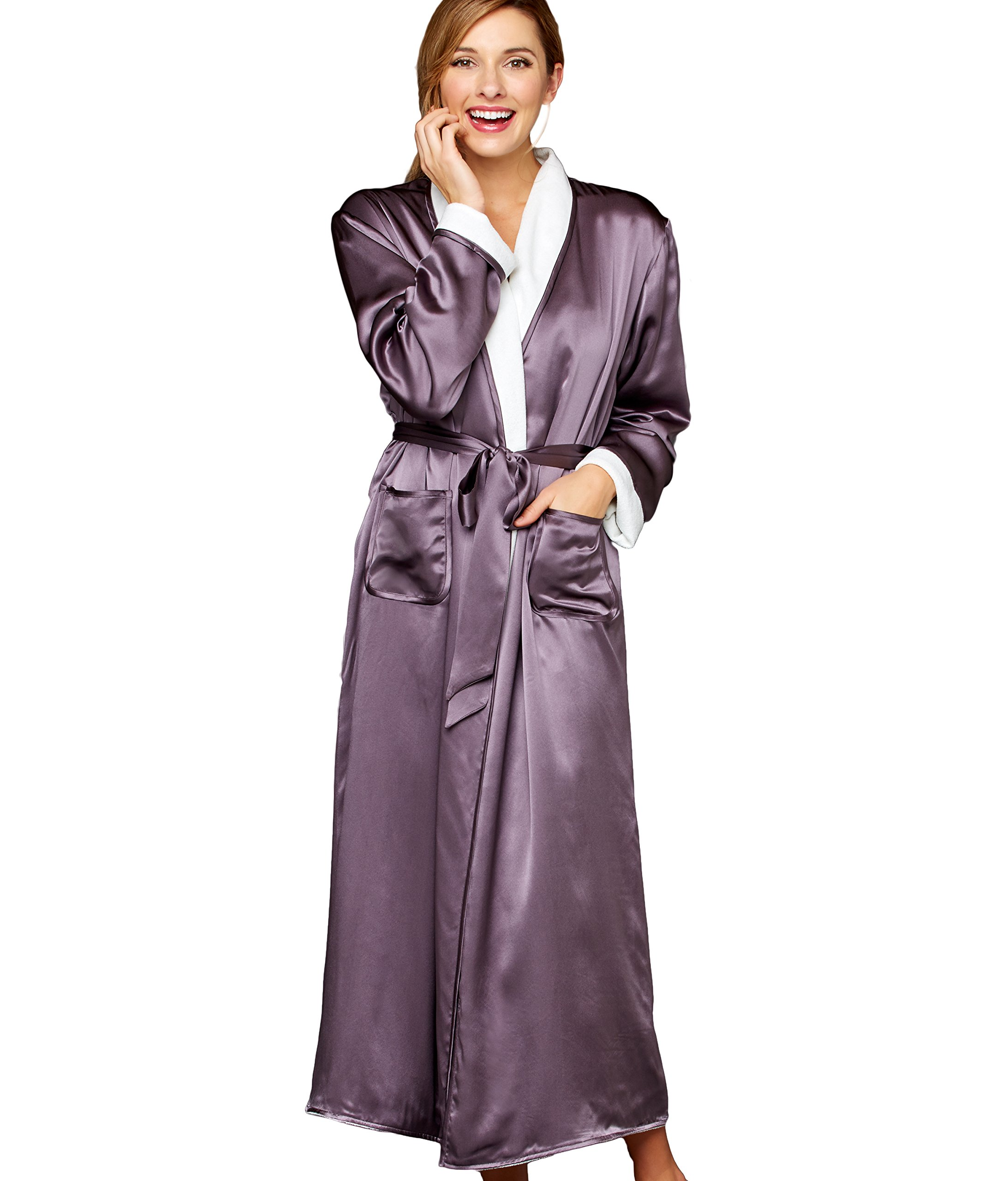 Julianna Rae Women's 100% Silk, Il Cieli Spa Robe, Tanzanite, L/XL